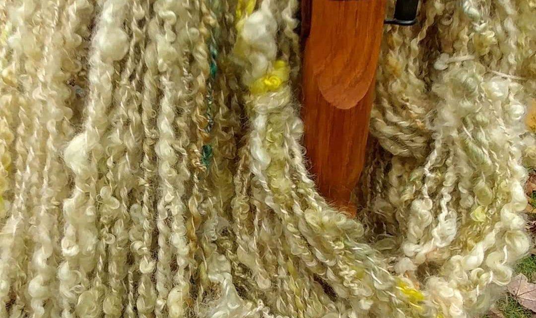 Golden Lemon Lock Spun Textured Yarn